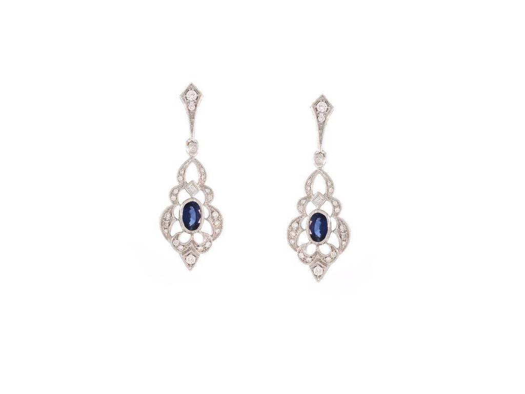 Beverley K Collection Sapphire & Diamond Drop Earrings