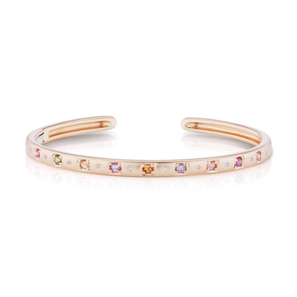 Jane Taylor Cirque Oval Rose Gold Sapphire Cuff Bracelet