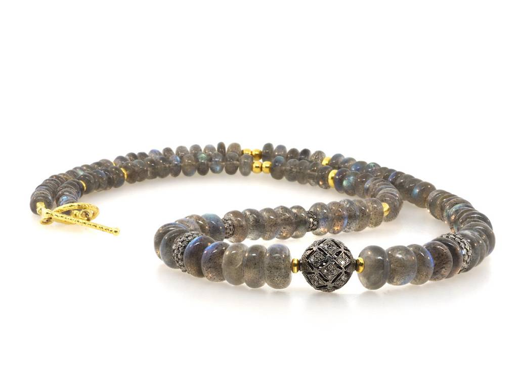 Trabert Goldsmiths Labradorite and Diamond Gold Beaded Necklace