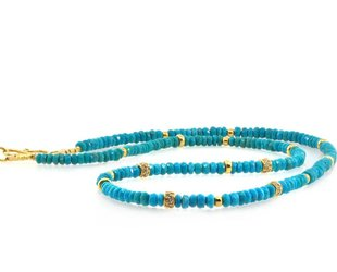 Trabert Goldsmiths Turquoise and Dia Beaded Necklace E1411