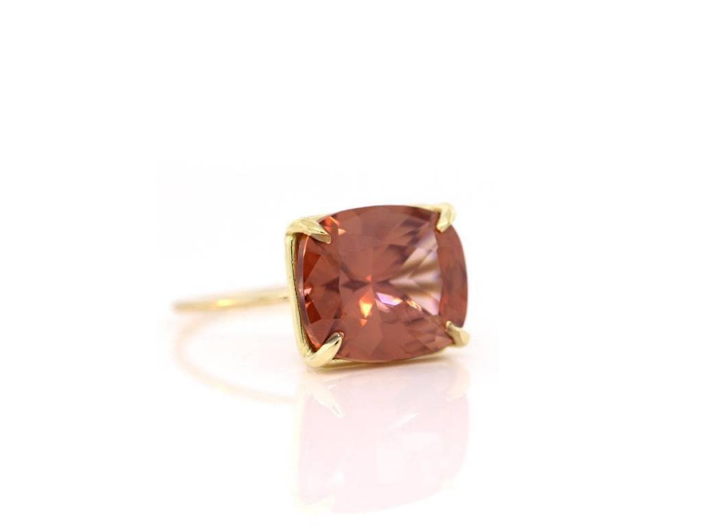 Trabert Goldsmiths Cushion Cut Zircon Ring