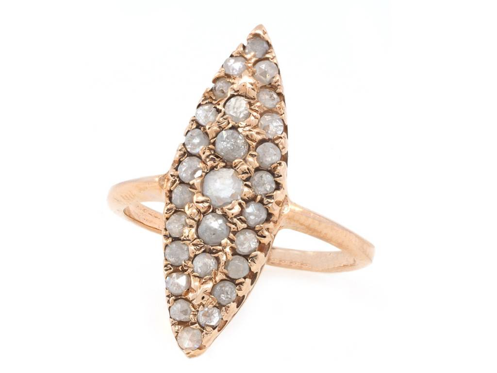 Arik Kastan Grey Diamond Rose Gold Navette Ring