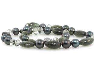 Trabert Goldsmiths Mixed Gemstone and  Cultured Tahitian Pearl E1261