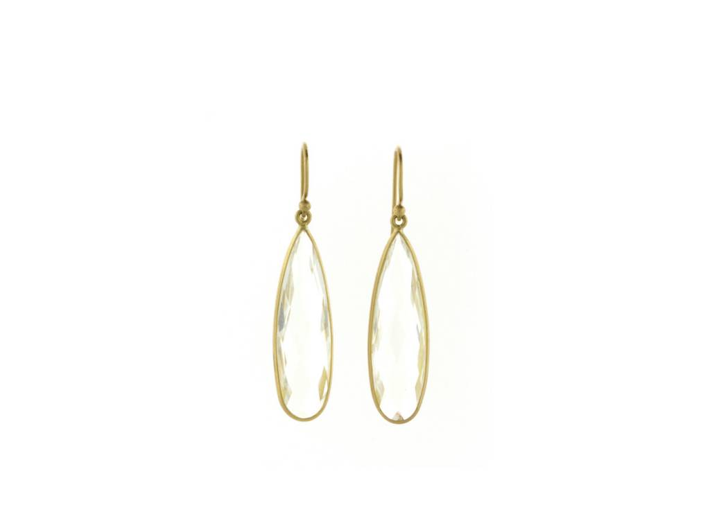 Kothari White Quartz Teardrop Earrings