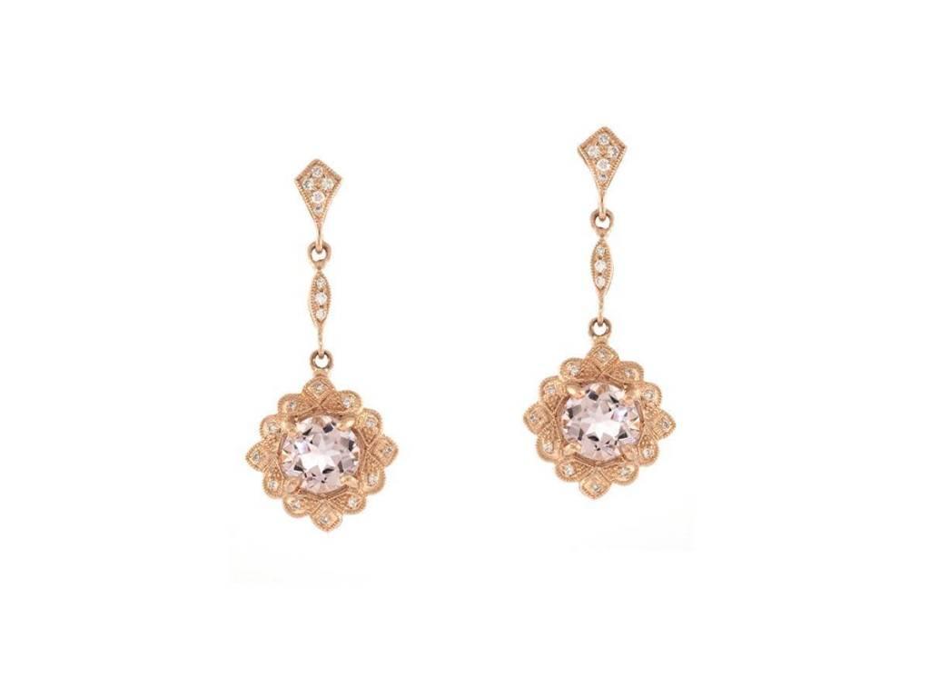 Beverley K Collection Morganite Rose Gold Drop Earrings