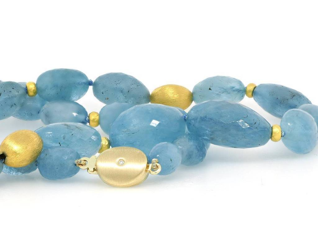 Trabert Goldsmiths Faceted Aquamarine Bead Necklace