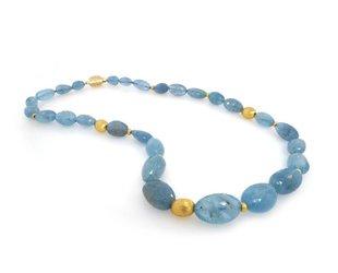 Trabert Goldsmiths Faceted Aquamarine Bead Necklace E1130