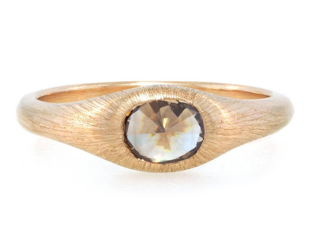 Trabert Goldsmiths .42cts Rose Cut Champagne Diamond Ring