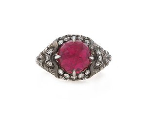 Trabert Goldsmiths Faceted Rose Cut Lab Ruby Plat Ring E1184