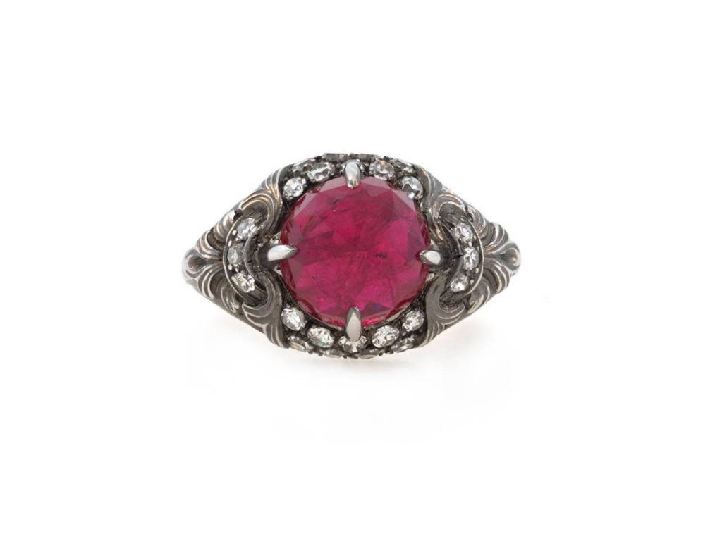 Trabert Goldsmiths Faceted Rose Cut Lab Ruby Platinum Ring