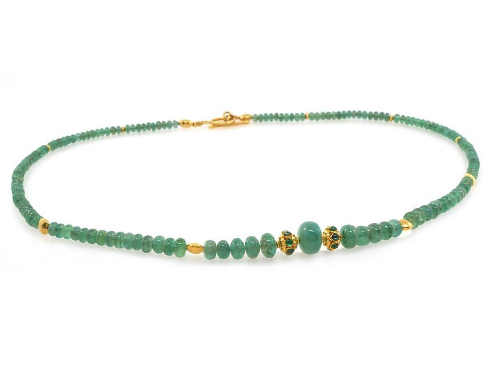 Trabert Goldsmiths Emerald and Gold Beaded Necklace