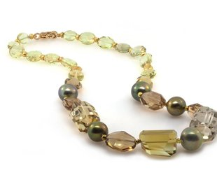 Trabert Goldsmiths Yellow and Smokey Quartz Mixed Beaded Necklace E1196