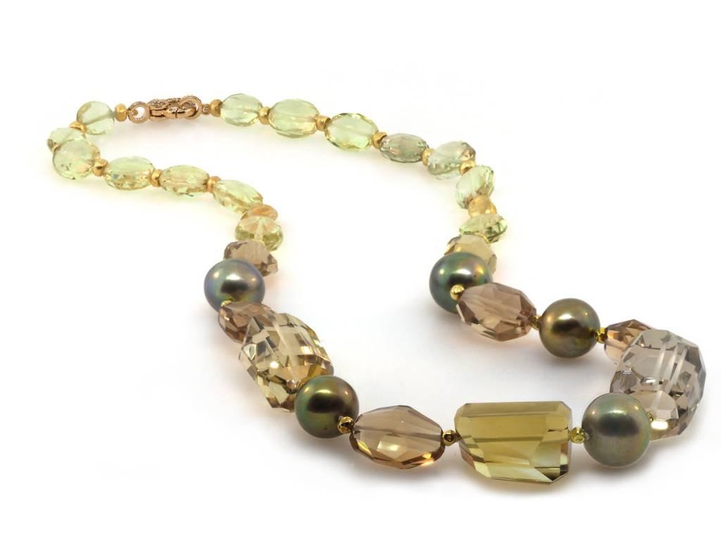 Trabert Goldsmiths Yellow and Smokey Quartz Mixed Beaded Necklace