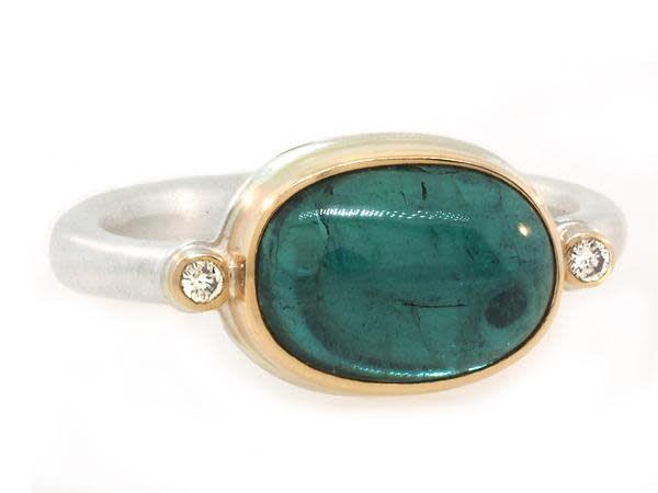 Jamie Joseph Jewelry Designs Oval Tourmaline and Diamond Ring