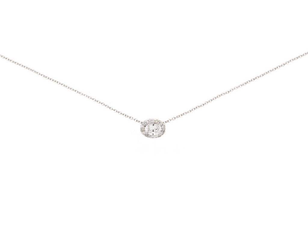 Trabert Goldsmiths Oval Diamond Halo Necklace