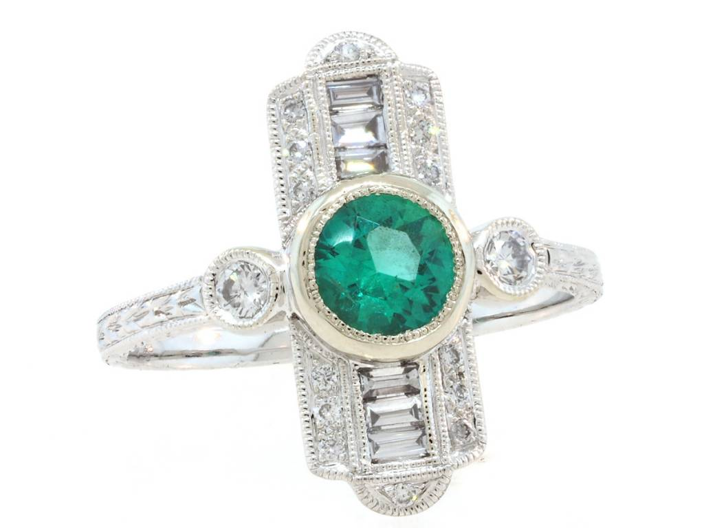 Beverley K Collection Deco Emerald and Dimond Baguette Ring