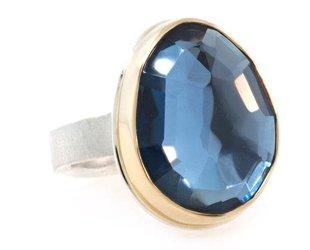 Jamie Joseph Jewelry Designs Faceted London Blue Topaz Ring JD105