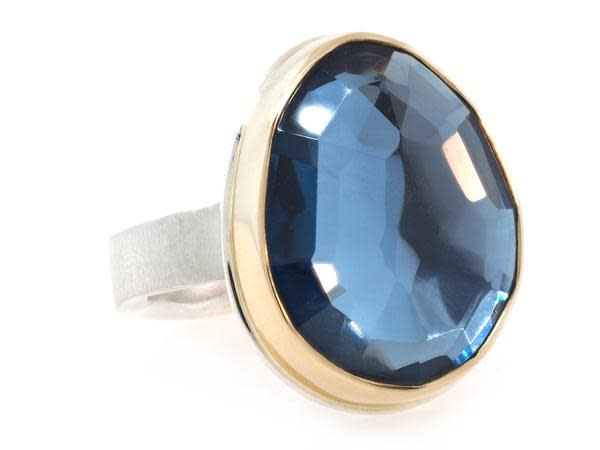 Jamie Joseph Jewelry Designs Faceted London Blue Topaz Ring