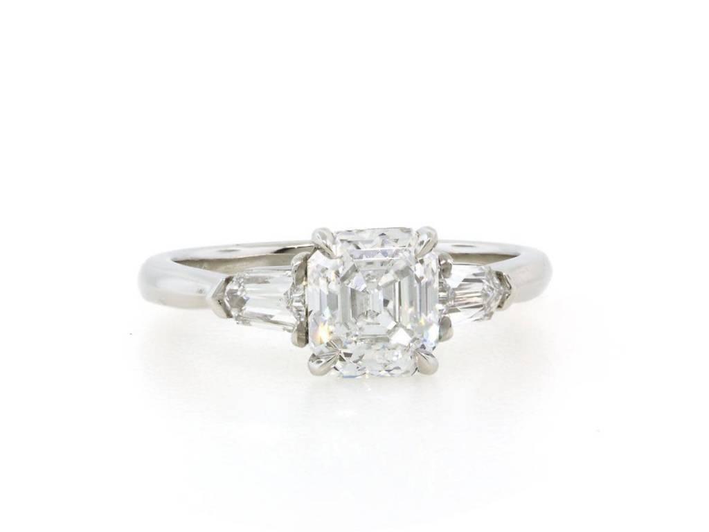 Trabert Goldsmiths 1.32ct Asscher Cut Diamond 3 Stone Ring