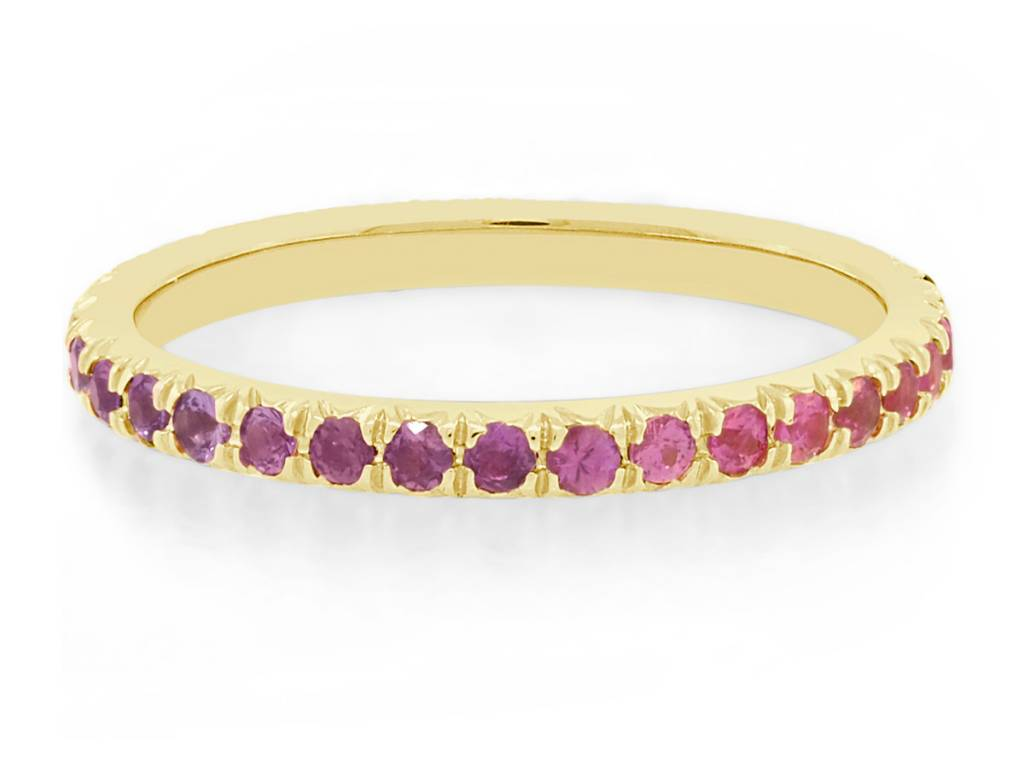 Trabert Goldsmiths Ombré Rainbow Sapphire Eternity Band