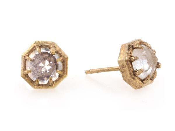 Lauren Wolf Moonstone Octagon Stud Earrings