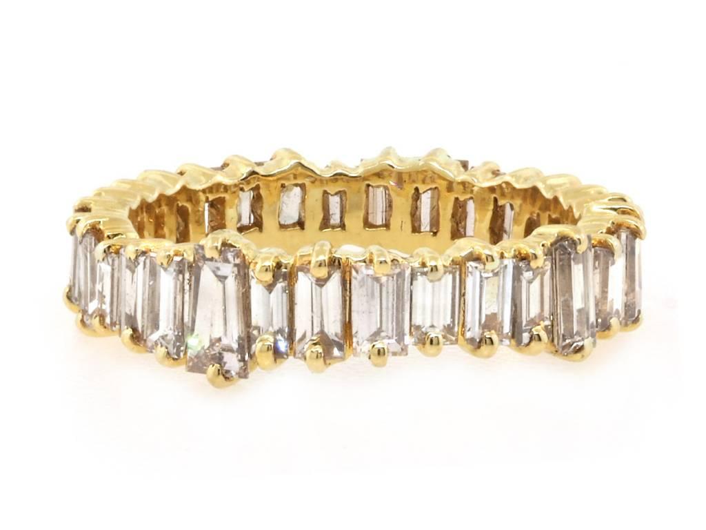 Trabert Goldsmiths Gold Vertical Baguette Diamond Ring