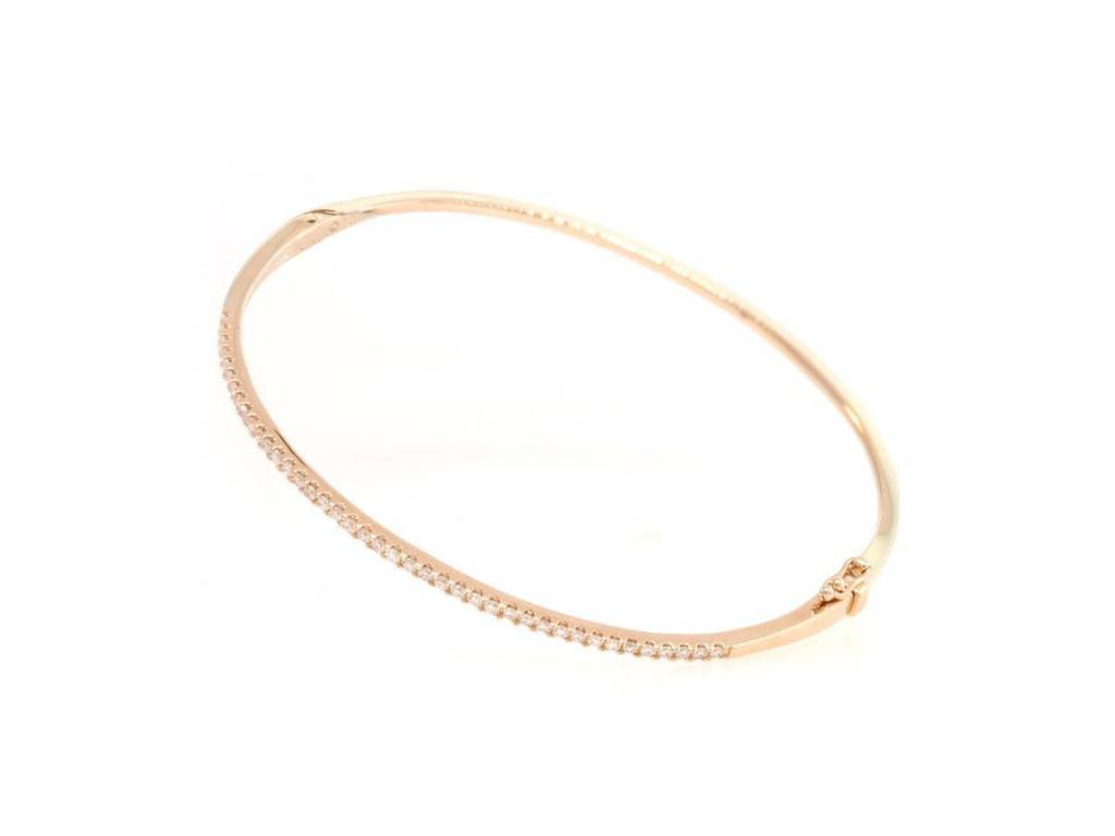 Luvente Rose Gold Pave Diamond Hinged Bracelet