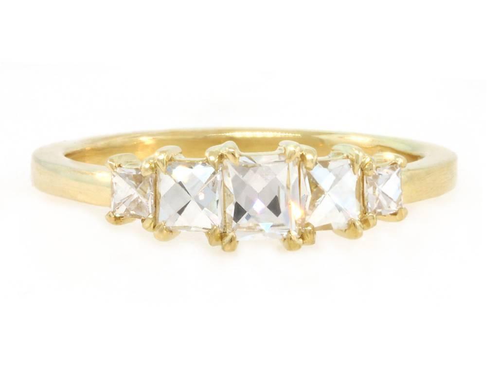 Trabert Goldsmiths 5 Stone French Cut Diamond Ring