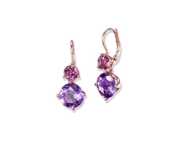 Jane Taylor Amethyst and Garnet Drop Earrings
