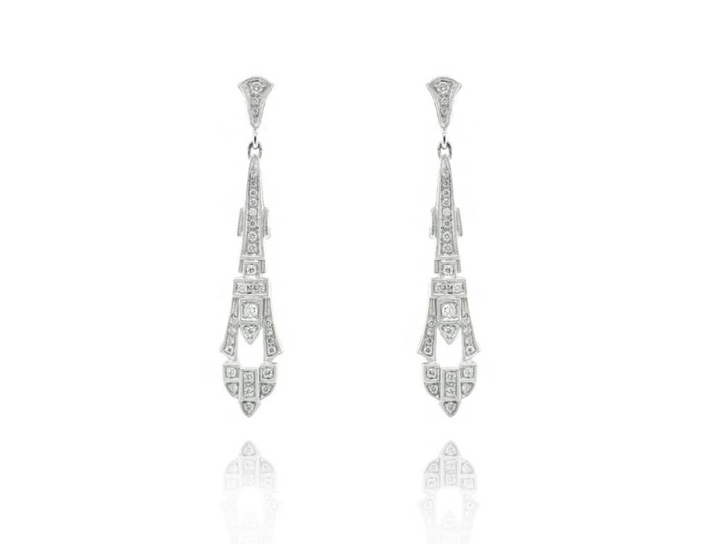 Beverley K Collection Art Deco Diamond Drop Earrings