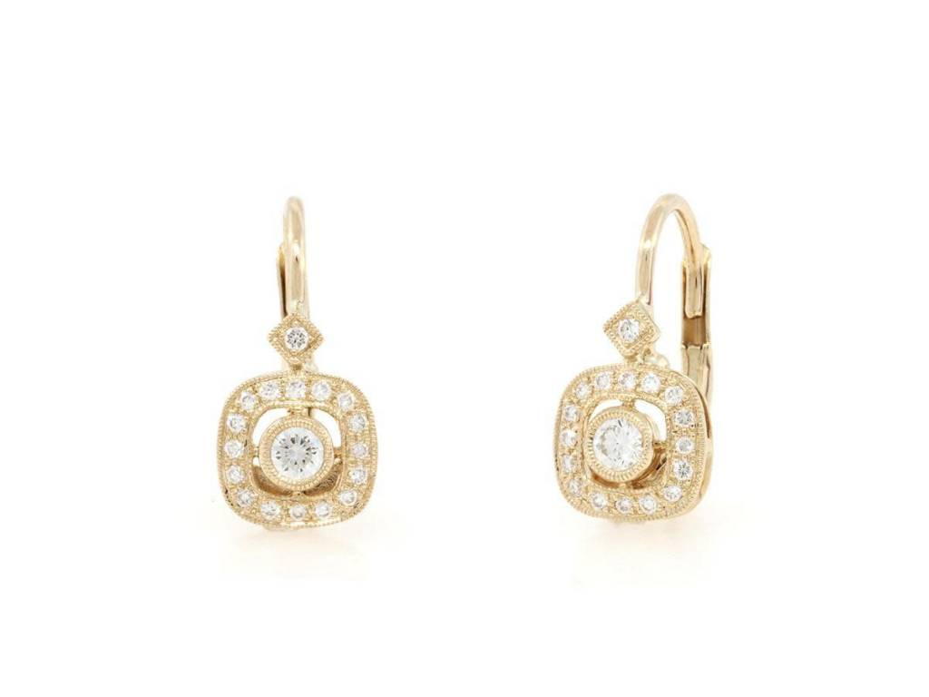 Beverley K Collection Cushion Shaped Diamond Pave Earrings