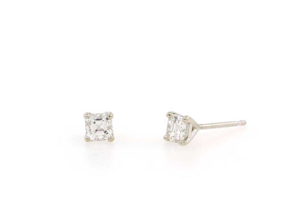 Trabert Goldsmiths Diamond Asscher Stud Earrings
