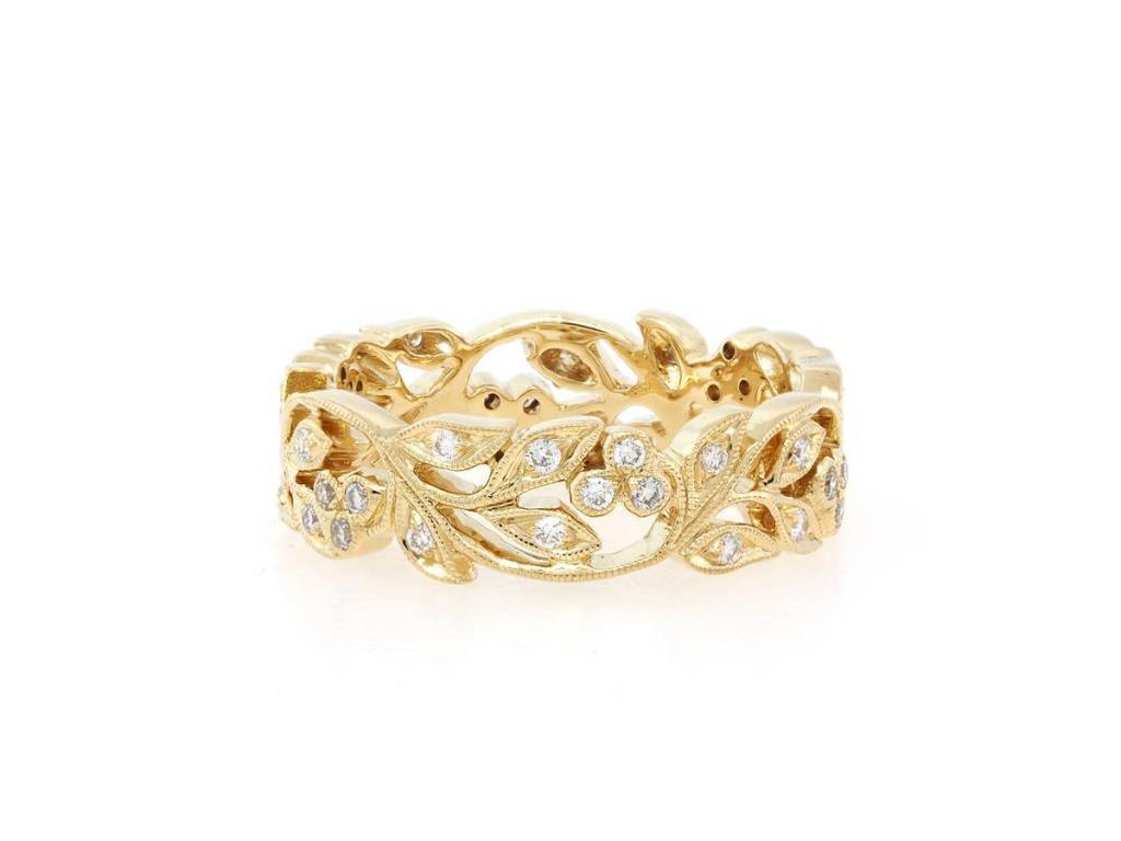 Beverley K Collection Wide Gold and Diamond Floral Band