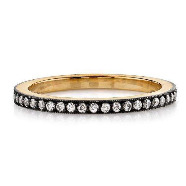 Single Stone Molly' Oxidized 18k and Silver Pave Eternity Band