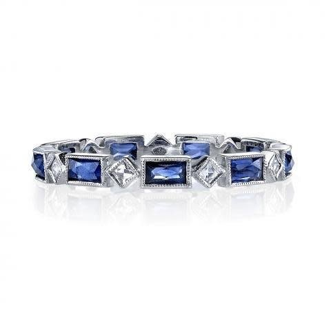 Single Stone 'Madeline' Platinum Sapphire and Diamond Eternity Band