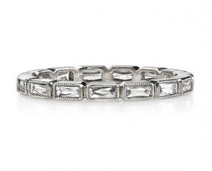 Single Stone Julia' French Cut Baguette Diamond Eternity Band