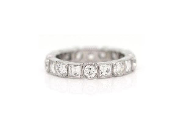 Single Stone Old European and French Cut Diamond Eternity Band