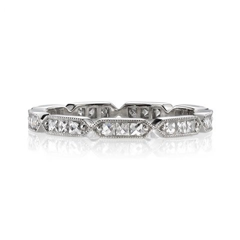Single Stone Antique Inspired French Cut Diamond Eternity Band