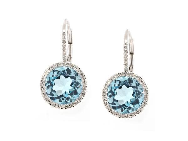 Luvente Blue Topaz Dia Halo Drop Earrings