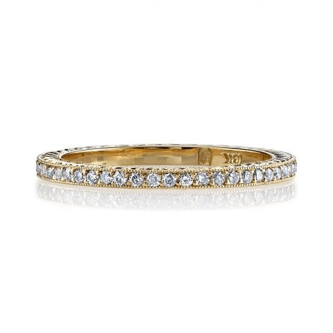Single Stone 'Molly' Engraved Yellow Gold Pave Eternity Band