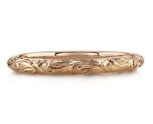 Single Stone Half Round Engraved 'Natalie' Wedding Band