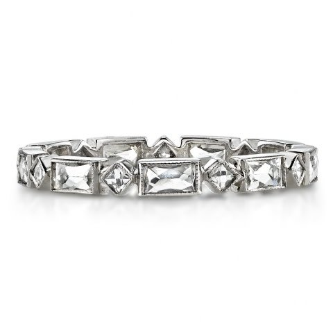 Single Stone Madeline' Platinum Alt French Cut Diamond Eternity Band