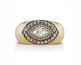 Sorellina Marquise Diamond Pave Dome Ring SOR1