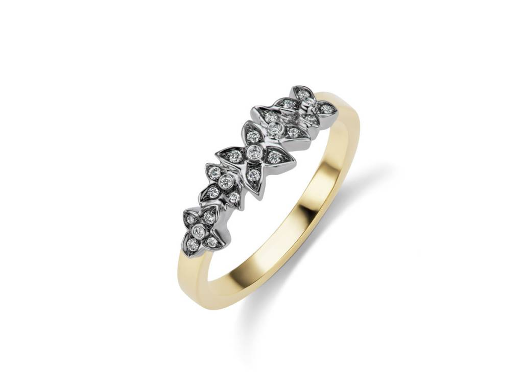 Sorellina Floral Oxidized Pave Diamond Ring