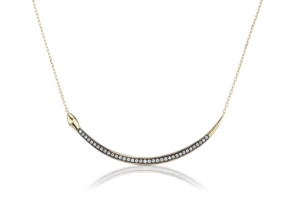 Sorellina Oxidized Diamond Snake Necklace