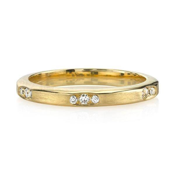 Single Stone Angled Gold and Dia Grover Band SI134