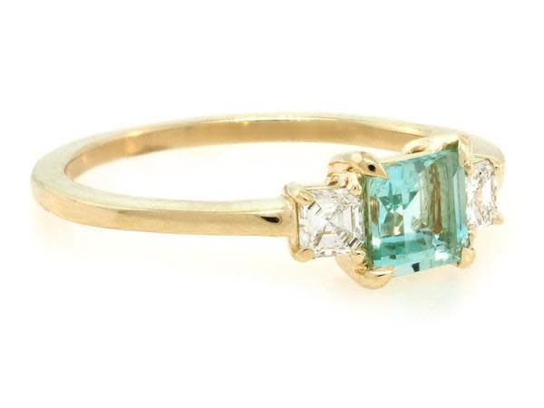 Trabert Goldsmiths 3 Stone Green Aquamarine and Diamond Ring