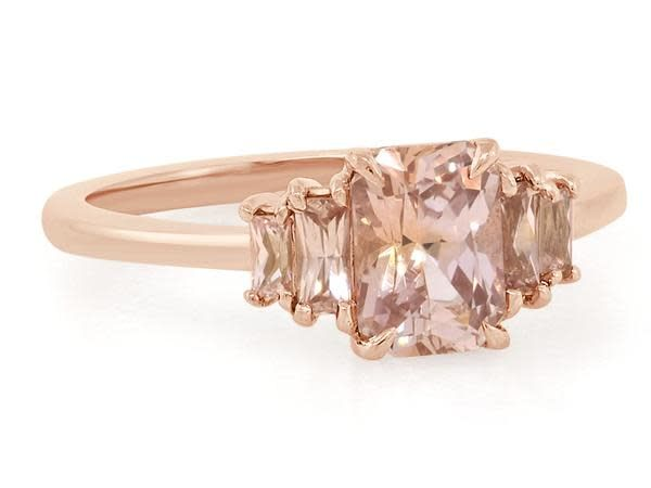 Trabert Goldsmiths 5 Stone Peach Sapphire Rose Gold Ring