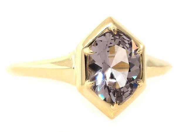 Trabert Goldsmiths 1.32ct Oval Spinel Geometric Ring