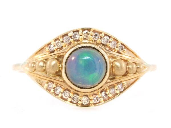 Celine Daoust Opal and Diamond Eye Ring
